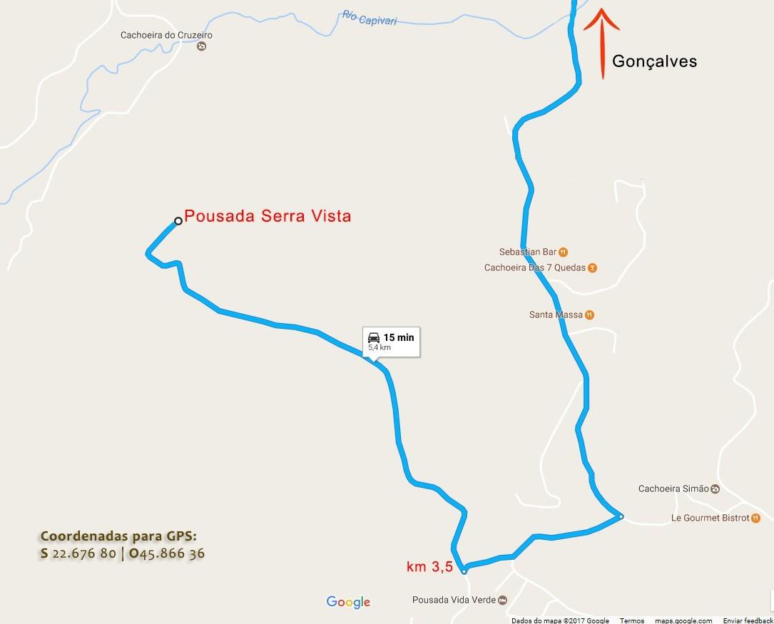 Mapa do Google para chegar à Pousada Serra Vista em Gonçalves MG.