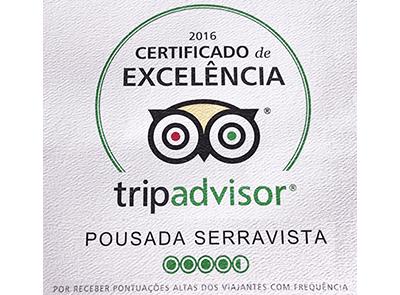 Certificado de Excelência TripAdvisor 2016 - Pousada Serra Vista.