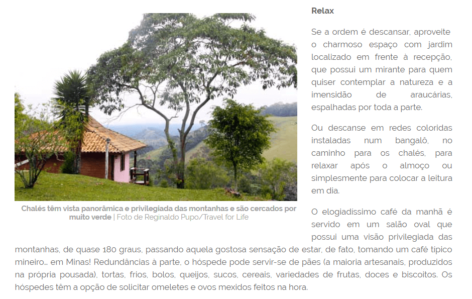 Revista Travel for Life publica sobre a Pousada Serra Vista, localizada em Gonçalves MG.