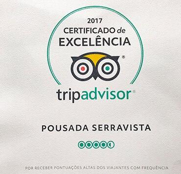 Certificado de Excelência TripAdvisor 2017 - Pousada Serra Vista.